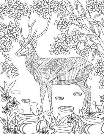 animaux: coloriage dessiné à la main