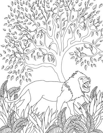 lijntekening: hand getekende dieren kleurplaat