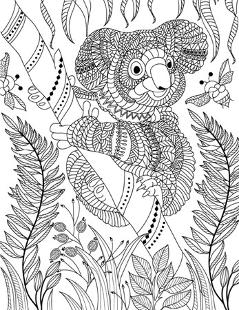 page: hand drawn animal coloring page Illustration