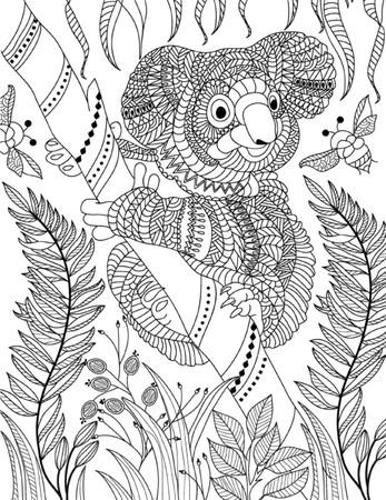 Hand gezeichnete Tier Seite Färbung