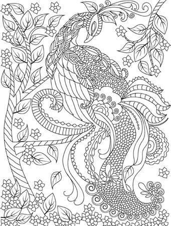 lijntekening: hand getekende vogel kleurplaat