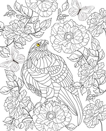 hand getekende vogel kleurplaat