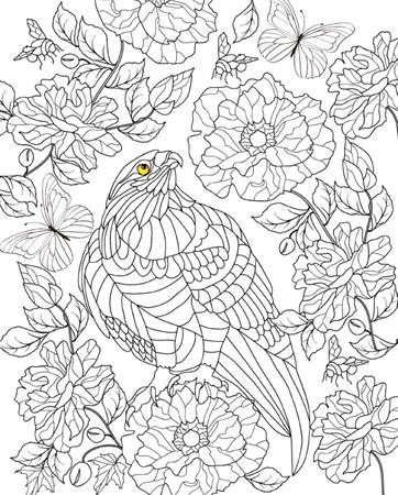 ručně kreslenými pták zbarvení stránky