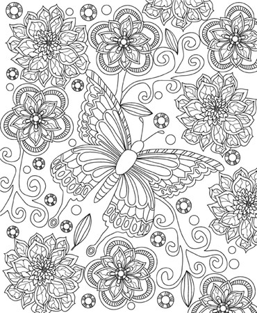 leaf line: hand drawn coloring page Illustration