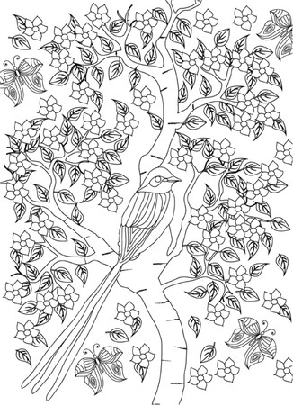 coloring pages to print: hand drawn bird coloring page