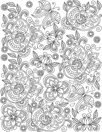 book pages: hand drawn  coloring page