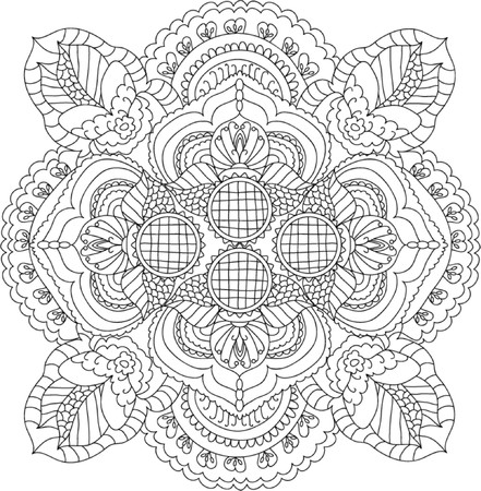 adults: Mandala Coloring Illustration