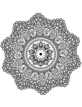 hand free: Mandala Coloring Illustration