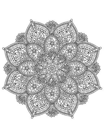 Mandala Colorare Illustrazione Vettoriali
