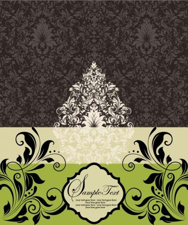 green swirl: vintage damask invitation card