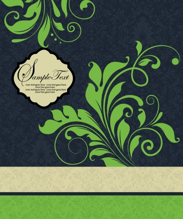 invitation with green floral elements Vector