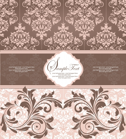 pink damask wedding card Vector