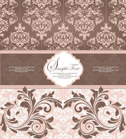 brown: pink damask wedding card