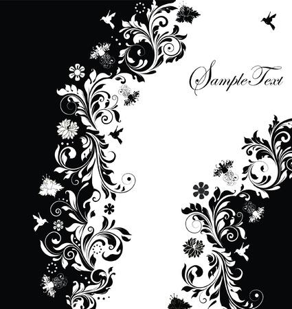marco blanco y negro: tarjeta floral abstracto en blanco y negro invitaci�n