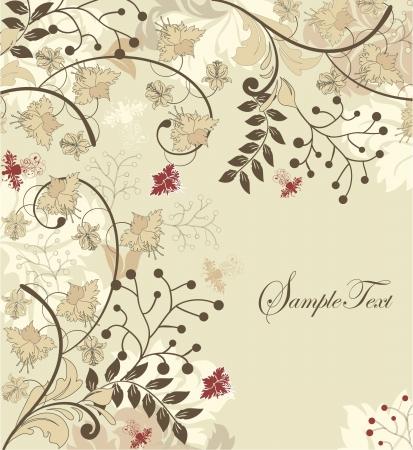 kahverengi: metin için çiçek arka plan ve yer vintage davetiye Çizim