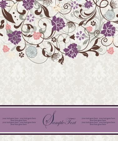 morado: nupcial ducha invitaci�n con las flores p�rpuras Vectores