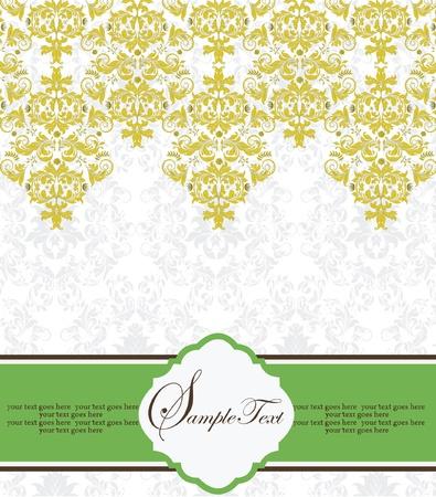 Vintage Lace   Damask Invitation Stock Vector - 15341283