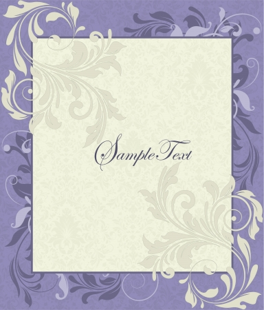 Purple and Ivory Vintage Floral Wedding Invitation
