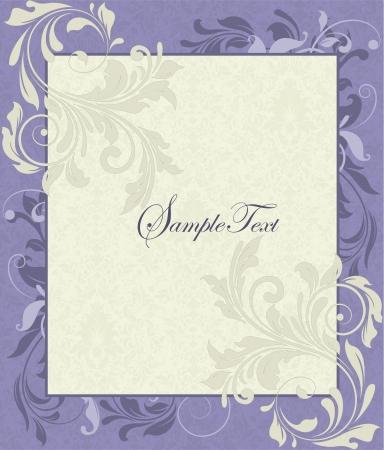 wedding: Purple and Ivory Vintage Floral Wedding Invitation