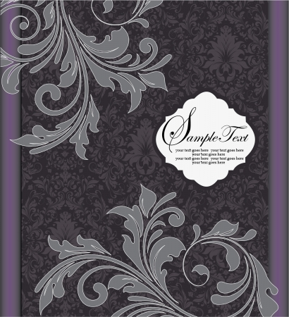 Purple silver floral wedding invitation card Vector
