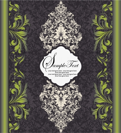 royal wedding: floral invitation card with place for text Illustration