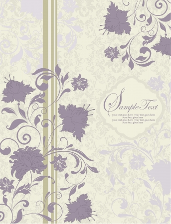 invitation vintage card with purple flowers Vector