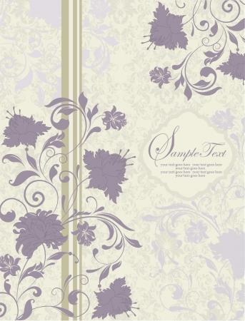 invitation vintage card with purple flowers