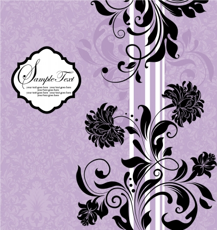 Purple Black Floral Invitation Card Vector