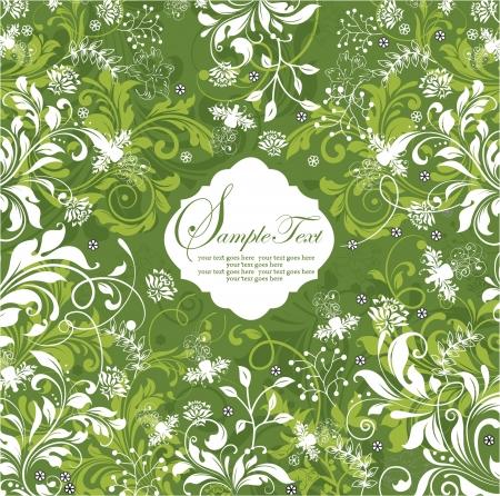 groene bloemen uitnodigingskaart Stock Illustratie