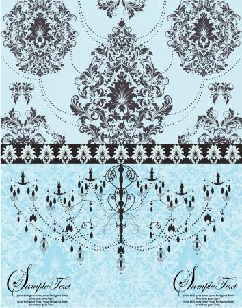 chandelier: blue vintage invitation floral card