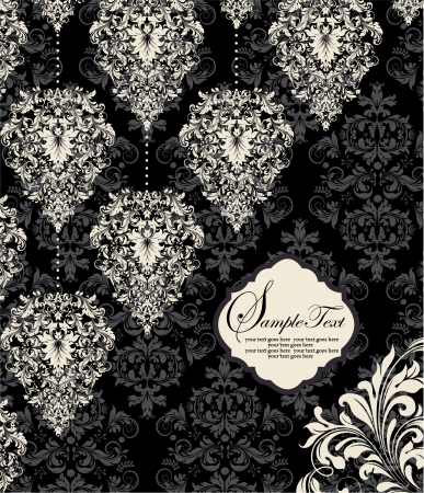 damast: vintage floral-Karte mit Platz f�r Text Illustration