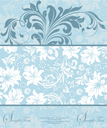 postcard background: blue floral invitation card Illustration