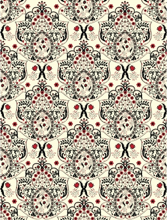 floral seamless pattern with red and black elements Vector
