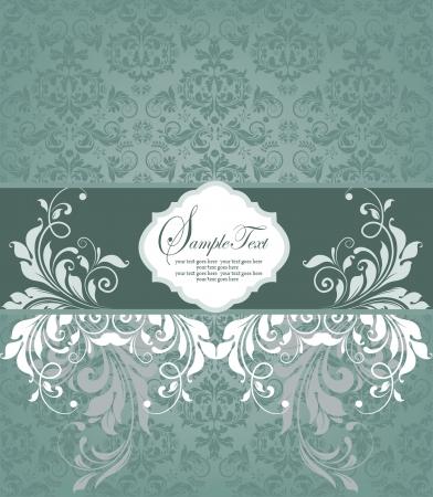 label frame: Vintage styled card with floral ornament background