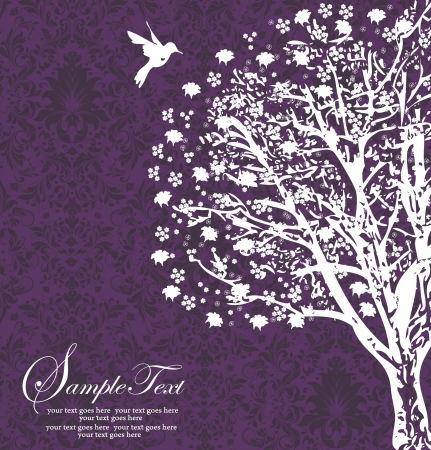 white tree silhouette on purple background Vector