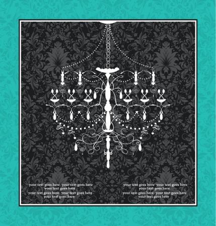 chandelier background: black blue vintage invitation wedding card