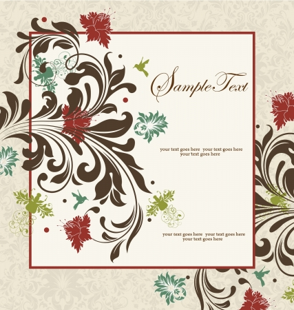 vintage damask invitation card Stock Vector - 15402045