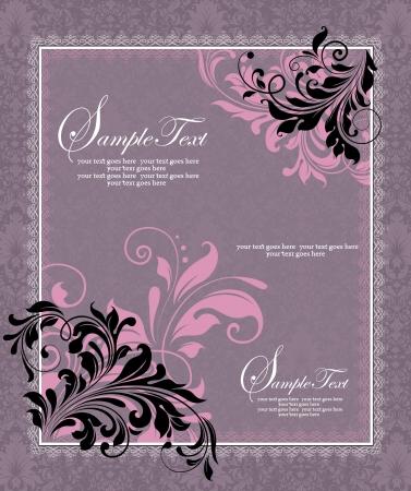 congratulate: purple invitation card,vector design