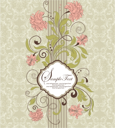 vintage invitation card with floral background and place for text Stock Vector - 15402041
