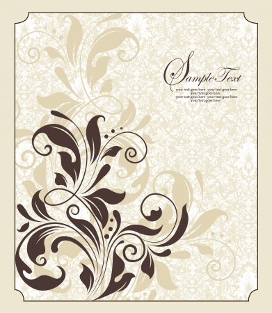 vintage floral card with place for text Vector