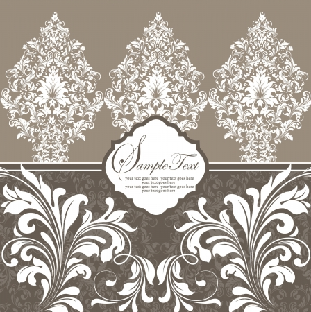 brown vintage damask invitation card Vector
