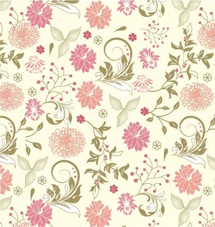 シームレスな花柄、ベクトルのデザイン