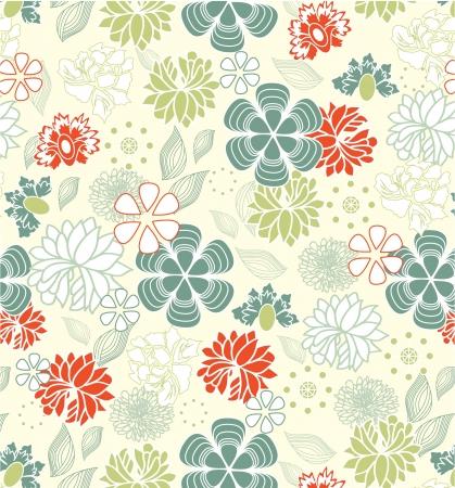 レトロ: レトロ花柄シームレスな背景、パターン  イラスト・ベクター素材