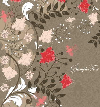 invitation card with floral background and place for text Vector