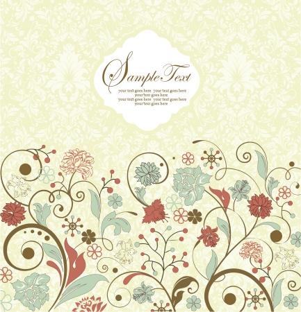 invitaci�n matrimonio: tarjeta de invitaci�n de la vendimia con el fondo floral y lugar para el texto