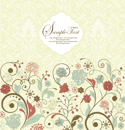 vintage invitation card with floral background and place for text Vector