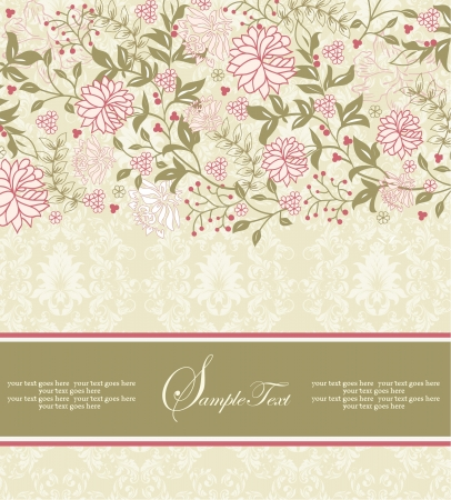vintage floral invitation card with pink flowers