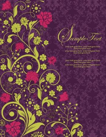 purple damask invitation card Stock Vector - 15442846