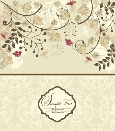 brown: vintage invitation card with floral background and place for text