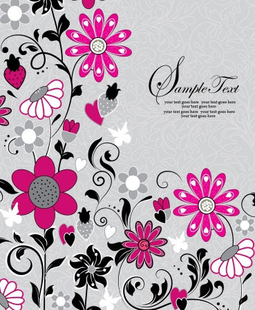 grey background texture: invitation with pink flowers Illustration